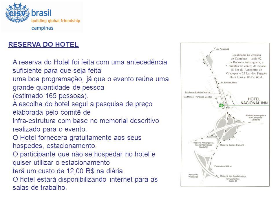 RESERVA DO HOTEL A reserva do Hotel foi feita com uma antecedência suficiente para que seja feita uma boa programação, já que o evento reúne uma grand