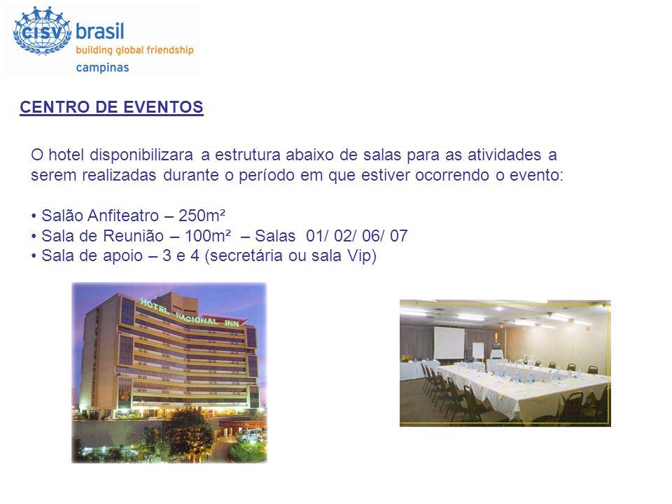 CENTRO DE EVENTOS O hotel disponibilizara a estrutura abaixo de salas para as atividades a serem realizadas durante o período em que estiver ocorrendo