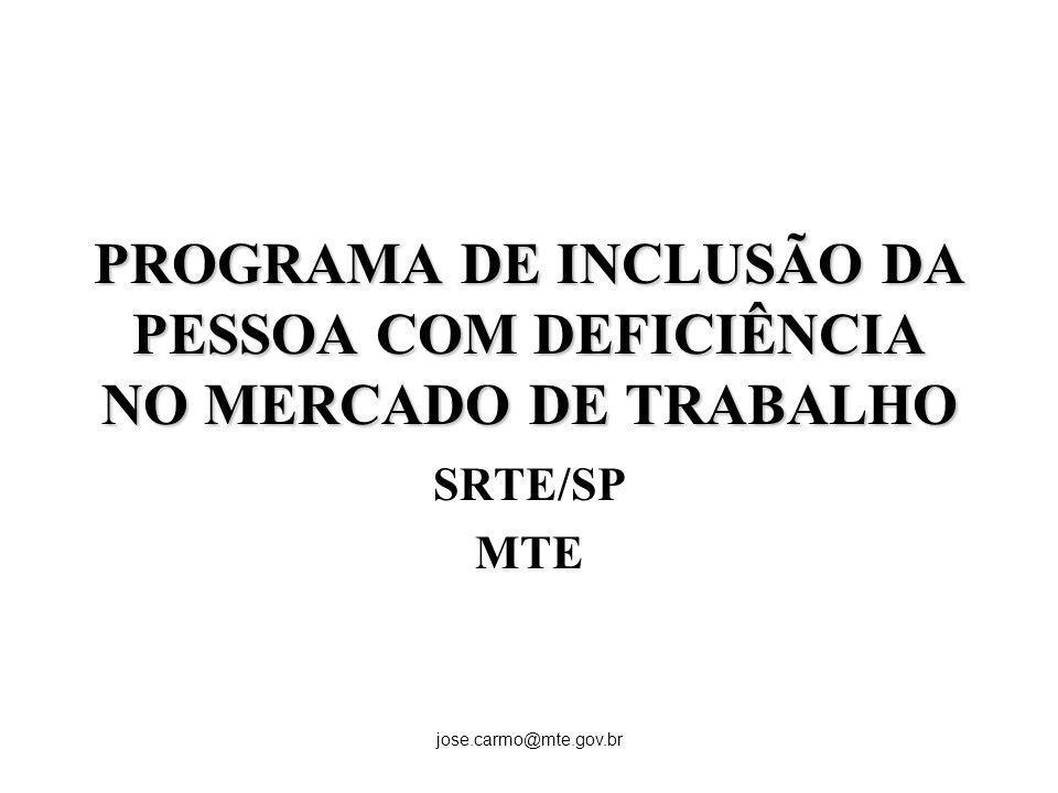 jose.carmo@mte.gov.br PROGRAMA DE INCLUSÃO DA PESSOA COM DEFICIÊNCIA NO MERCADO DE TRABALHO SRTE/SP MTE