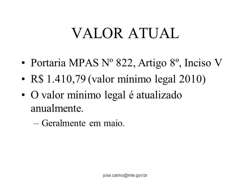 jose.carmo@mte.gov.br VALOR ATUAL Portaria MPAS Nº 822, Artigo 8º, Inciso V R$ 1.410,79 (valor mínimo legal 2010) O valor mínimo legal é atualizado an