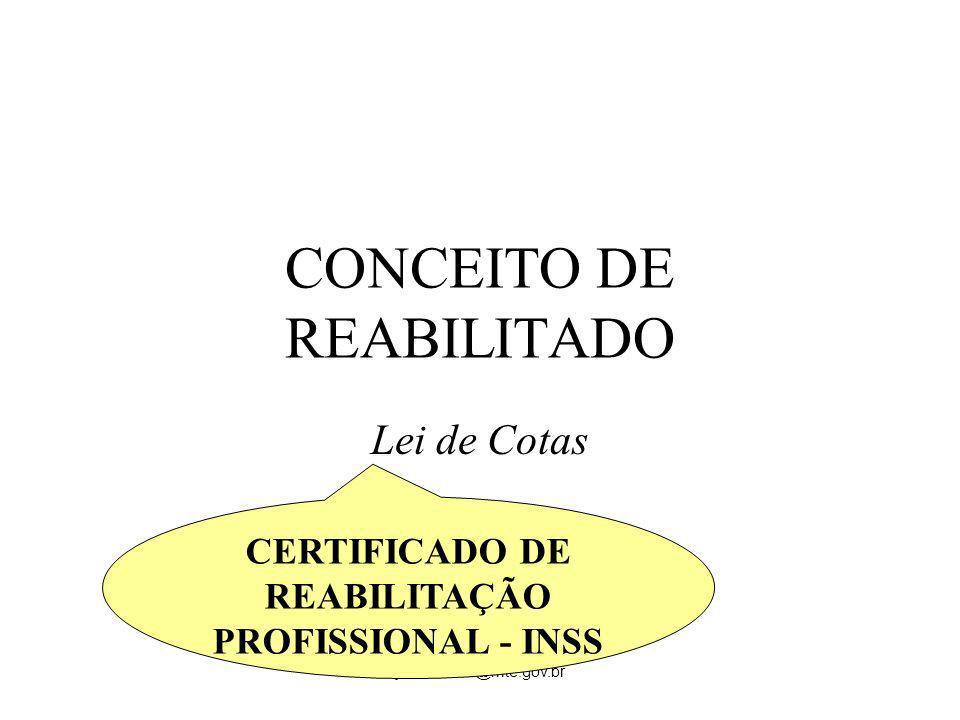 jose.carmo@mte.gov.br CONCEITO DE REABILITADO Lei de Cotas CERTIFICADO DE REABILITAÇÃO PROFISSIONAL - INSS