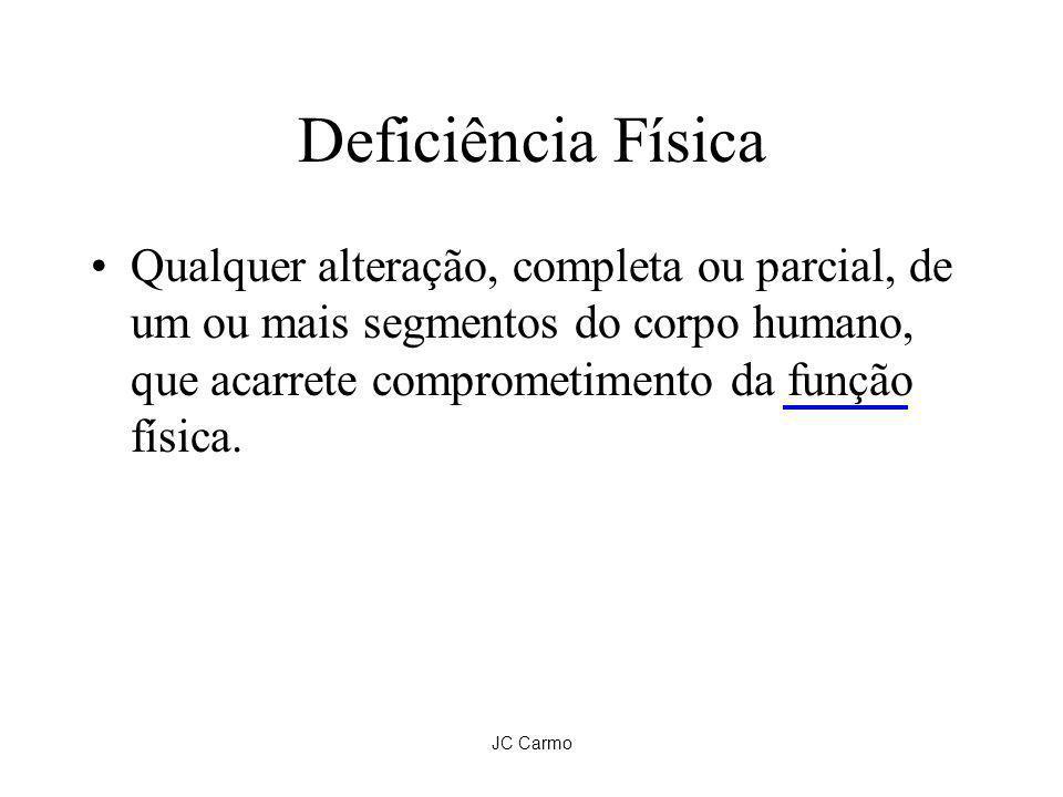 JC Carmo Deficiência Física Qualquer alteração, completa ou parcial, de um ou mais segmentos do corpo humano, que acarrete comprometimento da função f