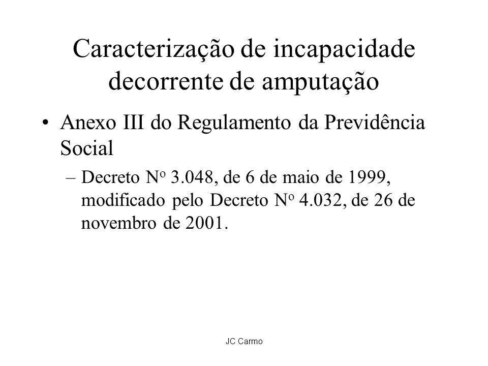 JC Carmo Caracterização de incapacidade decorrente de amputação Anexo III do Regulamento da Previdência Social –Decreto N o 3.048, de 6 de maio de 199