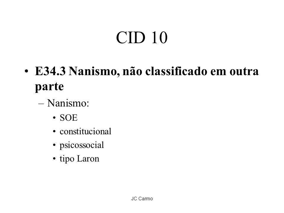 JC Carmo CID 10 E34.3 Nanismo, não classificado em outra parte –Nanismo: SOE constitucional psicossocial tipo Laron