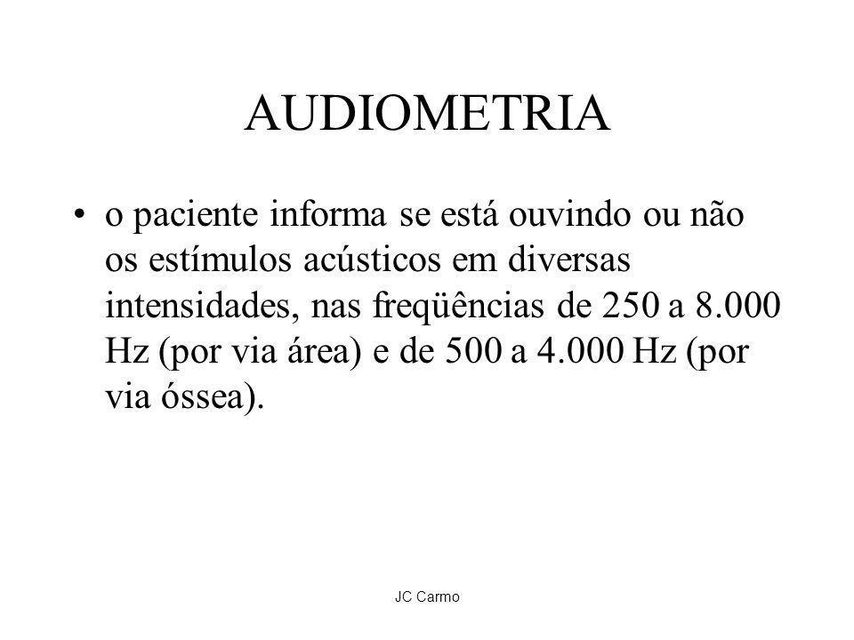 JC Carmo AUDIOMETRIA o paciente informa se está ouvindo ou não os estímulos acústicos em diversas intensidades, nas freqüências de 250 a 8.000 Hz (por