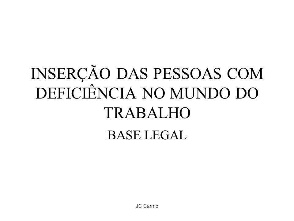 JC Carmo INSERÇÃO DAS PESSOAS COM DEFICIÊNCIA NO MUNDO DO TRABALHO BASE LEGAL
