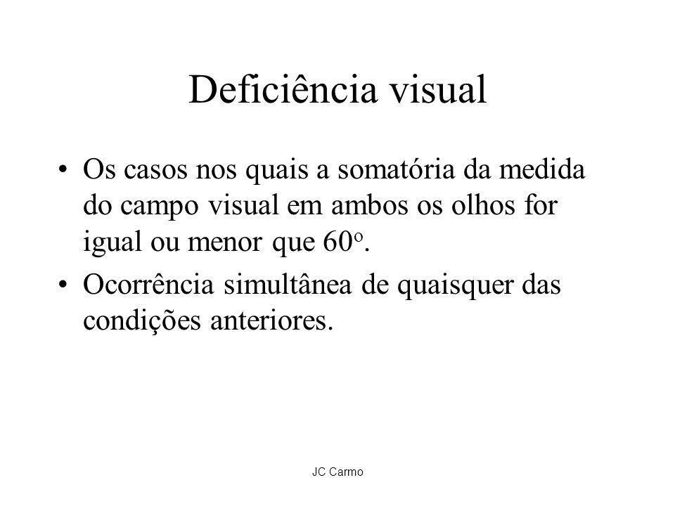 JC Carmo Deficiência visual Os casos nos quais a somatória da medida do campo visual em ambos os olhos for igual ou menor que 60 o. Ocorrência simultâ