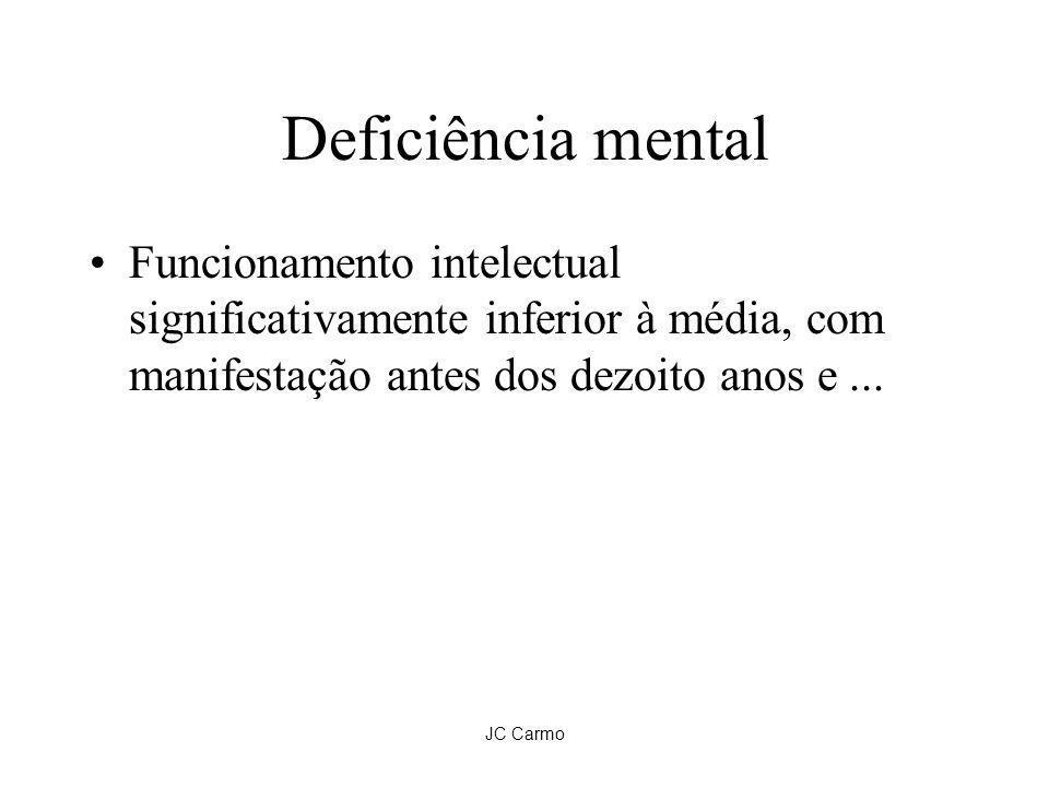 JC Carmo Deficiência mental Funcionamento intelectual significativamente inferior à média, com manifestação antes dos dezoito anos e...