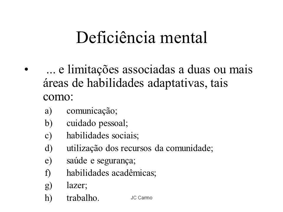 JC Carmo Deficiência mental... e limitações associadas a duas ou mais áreas de habilidades adaptativas, tais como: a)comunicação; b)cuidado pessoal; c