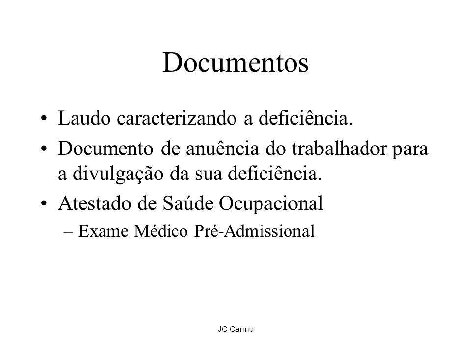 JC Carmo Documentos Laudo caracterizando a deficiência. Documento de anuência do trabalhador para a divulgação da sua deficiência. Atestado de Saúde O