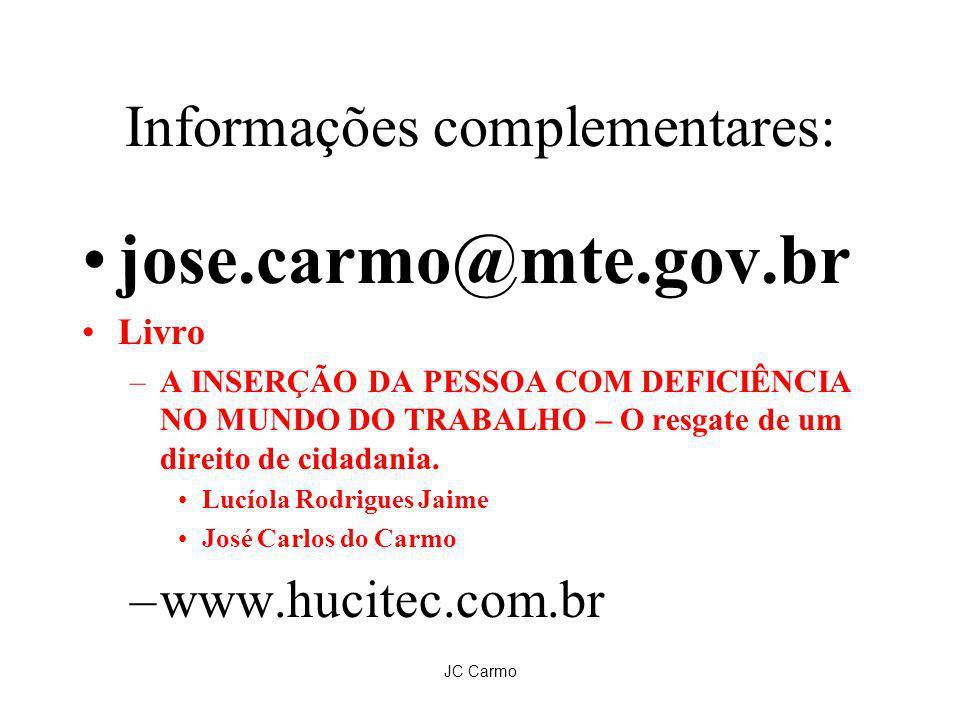 JC Carmo Informações complementares: jose.carmo@mte.gov.br Livro –A INSERÇÃO DA PESSOA COM DEFICIÊNCIA NO MUNDO DO TRABALHO – O resgate de um direito