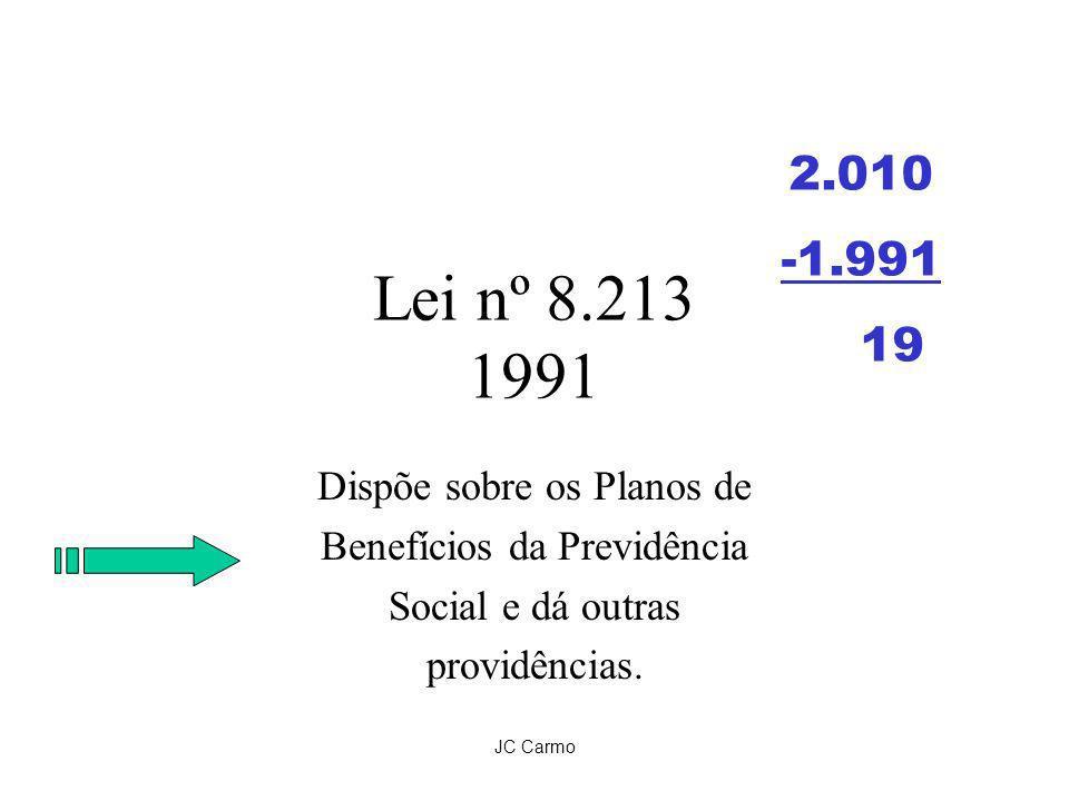 JC Carmo Lei nº 8.213 1991 Dispõe sobre os Planos de Benefícios da Previdência Social e dá outras providências. 2.010 -1.991 19
