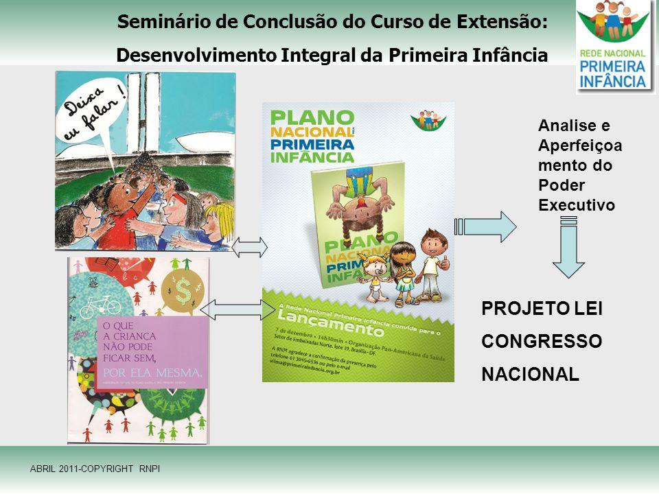 Seminário de Conclusão do Curso de Extensão: Desenvolvimento Integral da Primeira Infância Analise e Aperfeiçoa mento do Poder Executivo PROJETO LEI C