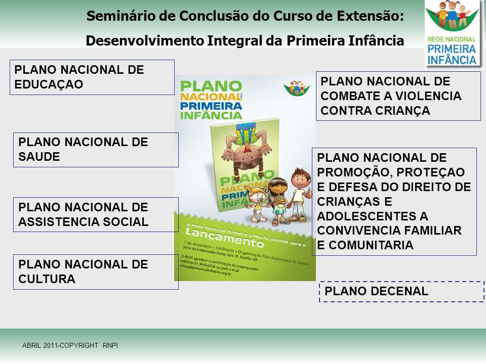 Seminário de Conclusão do Curso de Extensão: Desenvolvimento Integral da Primeira Infância PLANO NACIONAL DE EDUCAÇAO PLANO NACIONAL DE SAUDE PLANO NA