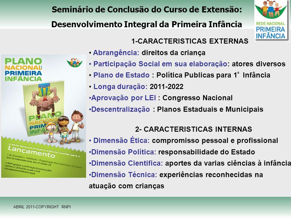 Seminário de Conclusão do Curso de Extensão: Desenvolvimento Integral da Primeira Infância 1-CARACTERISTICAS EXTERNAS Abrangência: direitos da criança