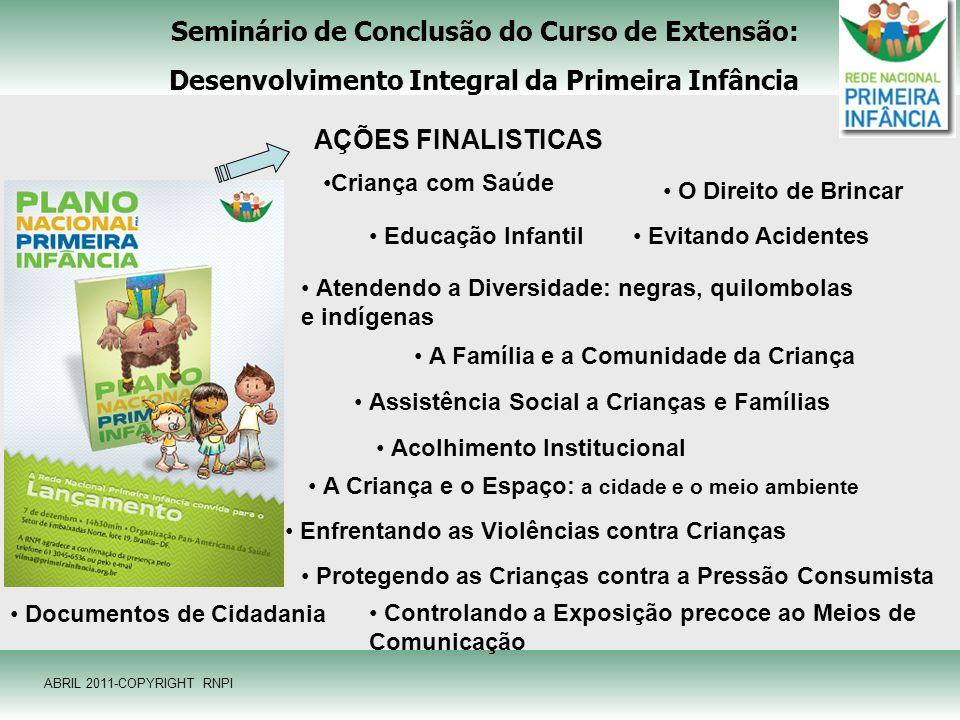 Seminário de Conclusão do Curso de Extensão: Desenvolvimento Integral da Primeira Infância AÇÕES FINALISTICAS Criança com Saúde Educação Infantil A Fa