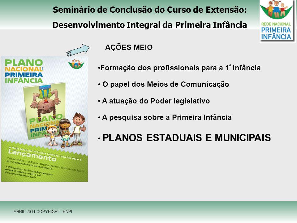 Seminário de Conclusão do Curso de Extensão: Desenvolvimento Integral da Primeira Infância AÇÕES MEIO Formação dos profissionais para a 1 ª Infância O
