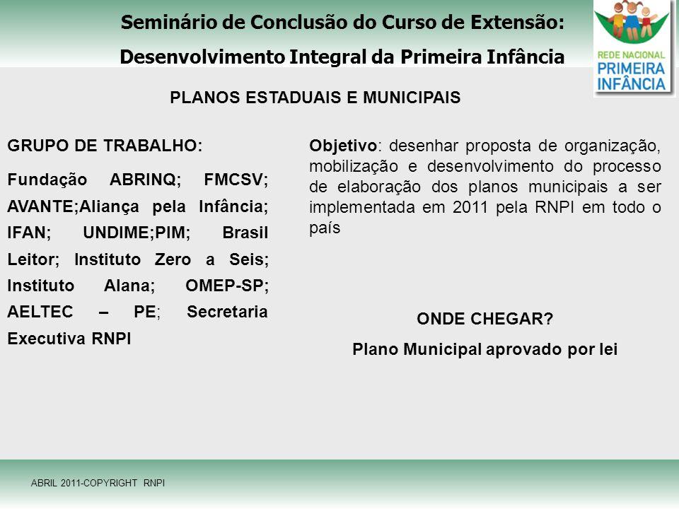 Seminário de Conclusão do Curso de Extensão: Desenvolvimento Integral da Primeira Infância ABRIL 2011-COPYRIGHT RNPI PLANOS ESTADUAIS E MUNICIPAIS GRU
