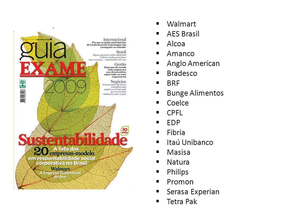 Walmart AES Brasil Alcoa Amanco Anglo American Bradesco BRF Bunge Alimentos Coelce CPFL EDP Fibria Itaú Unibanco Masisa Natura Philips Promon Serasa E