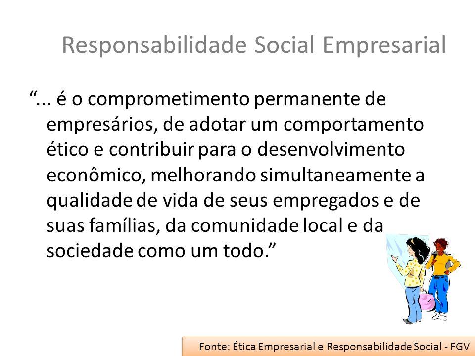 Responsabilidade Social Empresarial... é o comprometimento permanente de empresários, de adotar um comportamento ético e contribuir para o desenvolvim