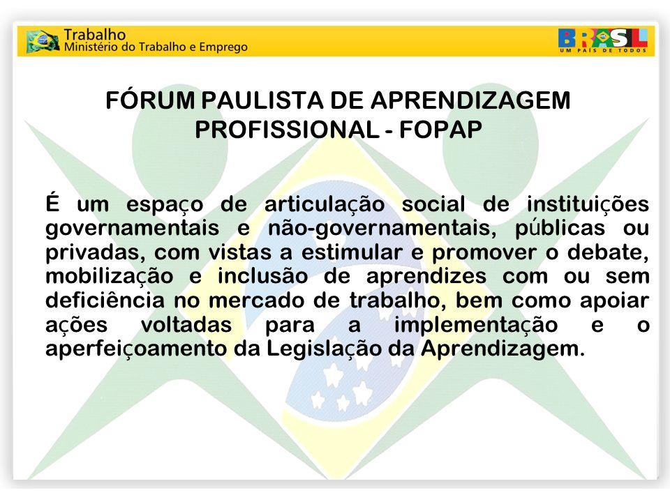 FÓRUM PAULISTA DE APRENDIZAGEM PROFISSIONAL - FOPAP É um espa ç o de articula ç ão social de institui ç ões governamentais e não-governamentais, p ú b