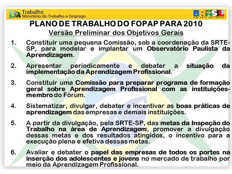 PLANO DE TRABALHO DO FOPAP PARA 2010 Versão Preliminar dos Objetivos Gerais 1.Constituir uma pequena Comissão, sob a coordenação da SRTE- SP, para mod