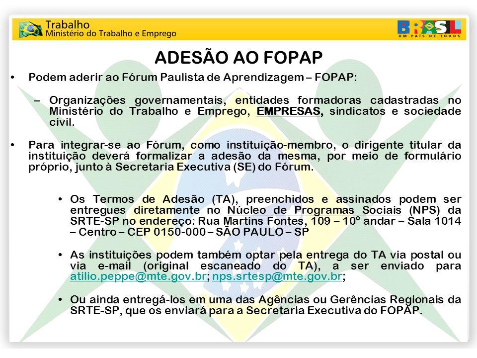 ADESÃO AO FOPAP Podem aderir ao Fórum Paulista de Aprendizagem – FOPAP: –Organizações governamentais, entidades formadoras cadastradas no Ministério d