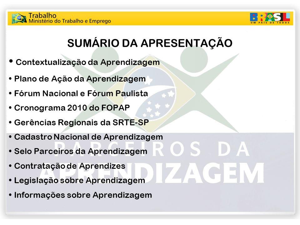 SUMÁRIO DA APRESENTAÇÃO Contextualização da Aprendizagem Plano de Ação da Aprendizagem Fórum Nacional e Fórum Paulista Cronograma 2010 do FOPAP Gerênc