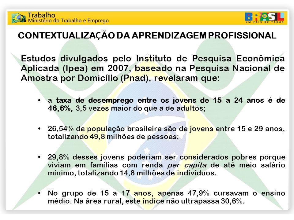 CONTEXTUALIZA Ç ÃO DA APRENDIZAGEM PROFISSIONAL Estudos divulgados pelo Instituto de Pesquisa Econômica Aplicada (Ipea) em 2007, baseado na Pesquisa N