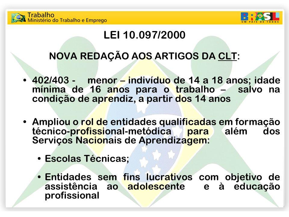 LEI 10.097/2000 NOVA REDAÇÃO AOS ARTIGOS DA CLT: 402/403 - menor – indivíduo de 14 a 18 anos; idade mínima de 16 anos para o trabalho – salvo na condi