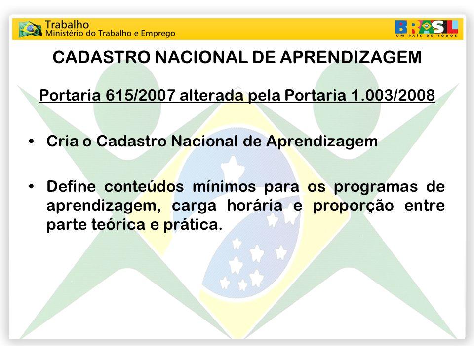 CADASTRO NACIONAL DE APRENDIZAGEM Portaria 615/2007 alterada pela Portaria 1.003/2008 Cria o Cadastro Nacional de Aprendizagem Define conteúdos mínimo
