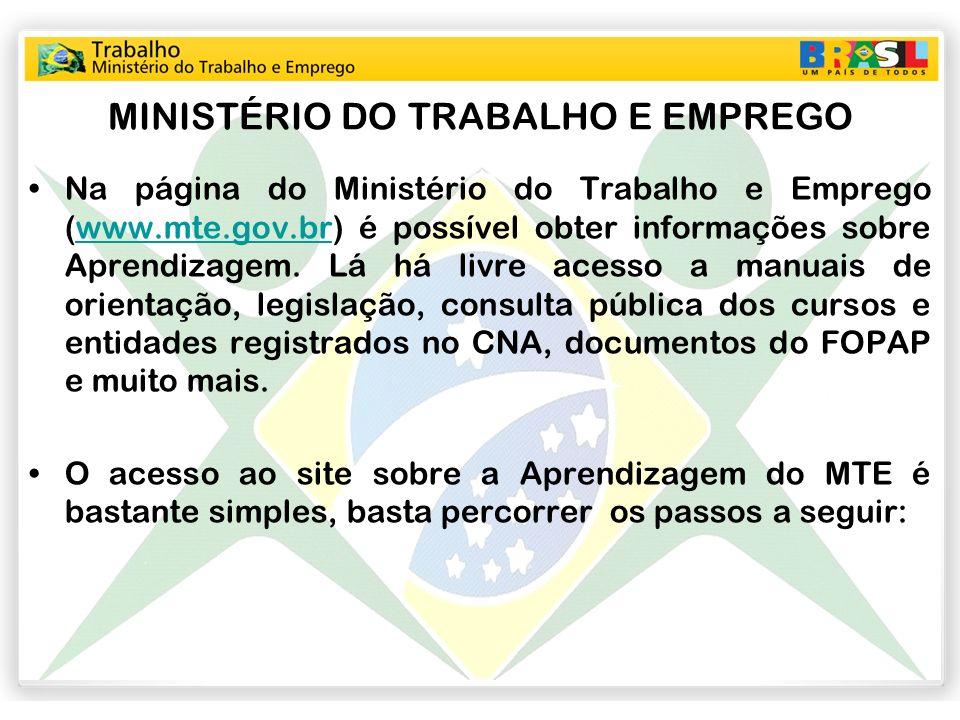MINISTÉRIO DO TRABALHO E EMPREGO Na página do Ministério do Trabalho e Emprego (www.mte.gov.br) é possível obter informações sobre Aprendizagem. Lá há