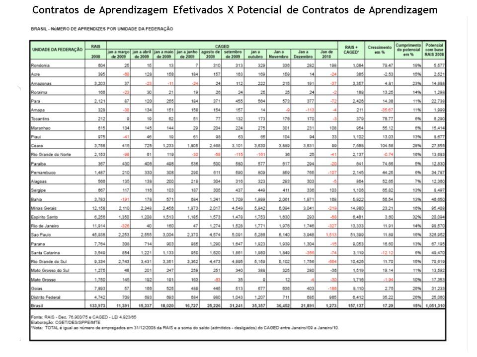 Na I Conferência de Aprendizagem Profissional, realizada em novembro de 2008, em Brasília, o Governo Federal lançou a meta de atingir 800.000 contratos de aprendizagem até o final de 2010.