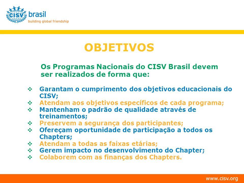 www.cisv.org PERÍODO DE REALIZAÇÃO DOS PROGRAMAS: JANEIRO: Village Summer YM (12-13, 14-15, 16-18,19++) Interplus Interchange JULHO: Interchange YM (12-13, 14-15, 16-18) Seminar Village Interplus JCs somente em Village