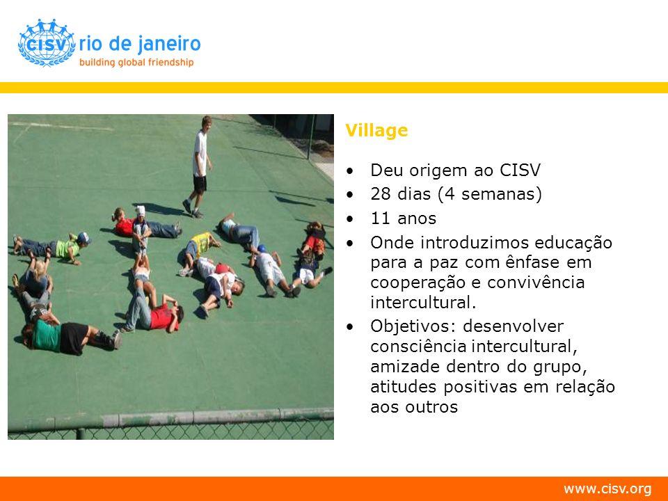 www.cisv.org Village Deu origem ao CISV 28 dias (4 semanas) 11 anos Onde introduzimos educação para a paz com ênfase em cooperação e convivência inter
