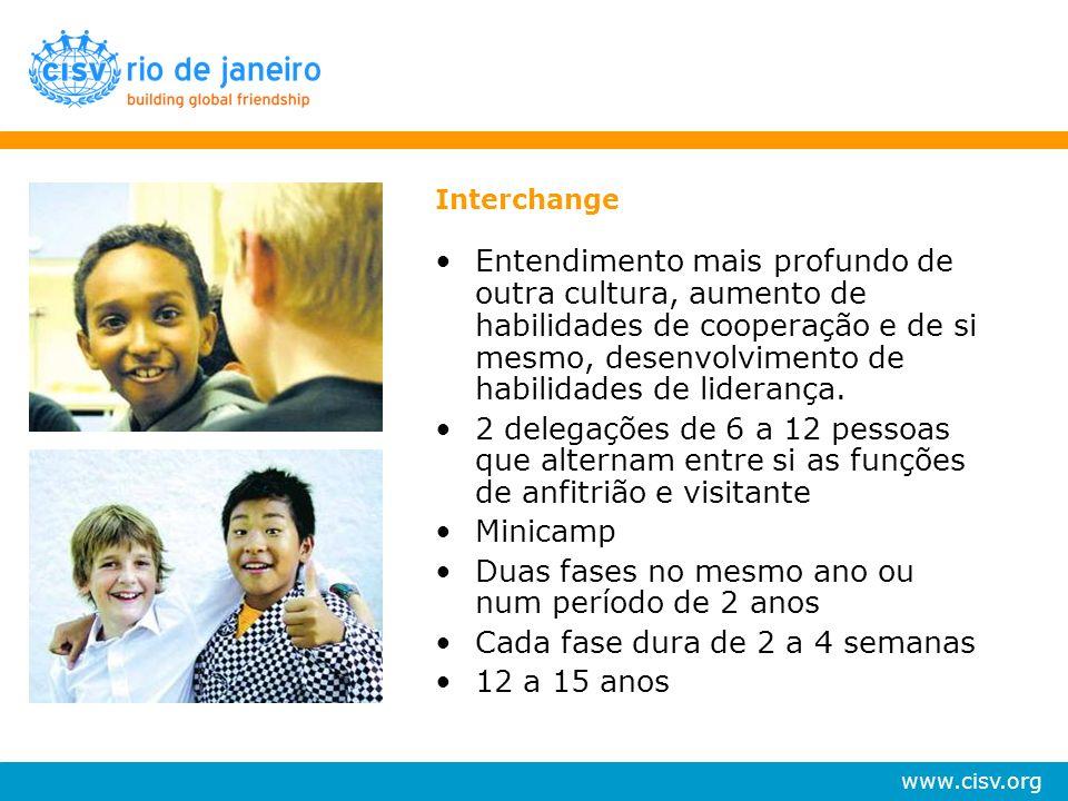 www.cisv.org Interchange Entendimento mais profundo de outra cultura, aumento de habilidades de cooperação e de si mesmo, desenvolvimento de habilidad