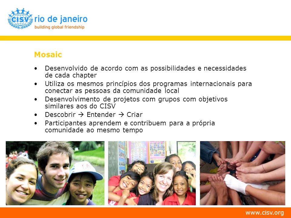 www.cisv.org Mosaic Desenvolvido de acordo com as possibilidades e necessidades de cada chapter Utiliza os mesmos princípios dos programas internacion