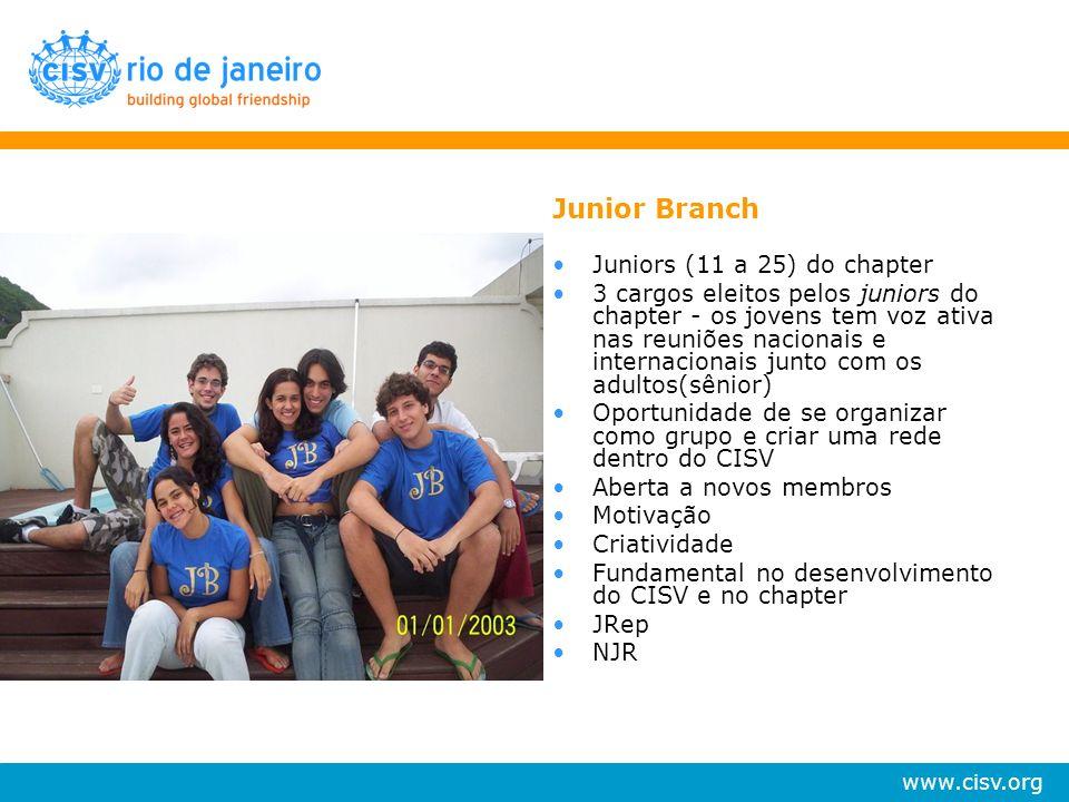 www.cisv.org Junior Branch Juniors (11 a 25) do chapter 3 cargos eleitos pelos juniors do chapter - os jovens tem voz ativa nas reuniões nacionais e i