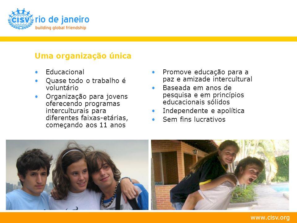 www.cisv.org Uma organização única Educacional Quase todo o trabalho é voluntário Organização para jovens oferecendo programas interculturais para dif