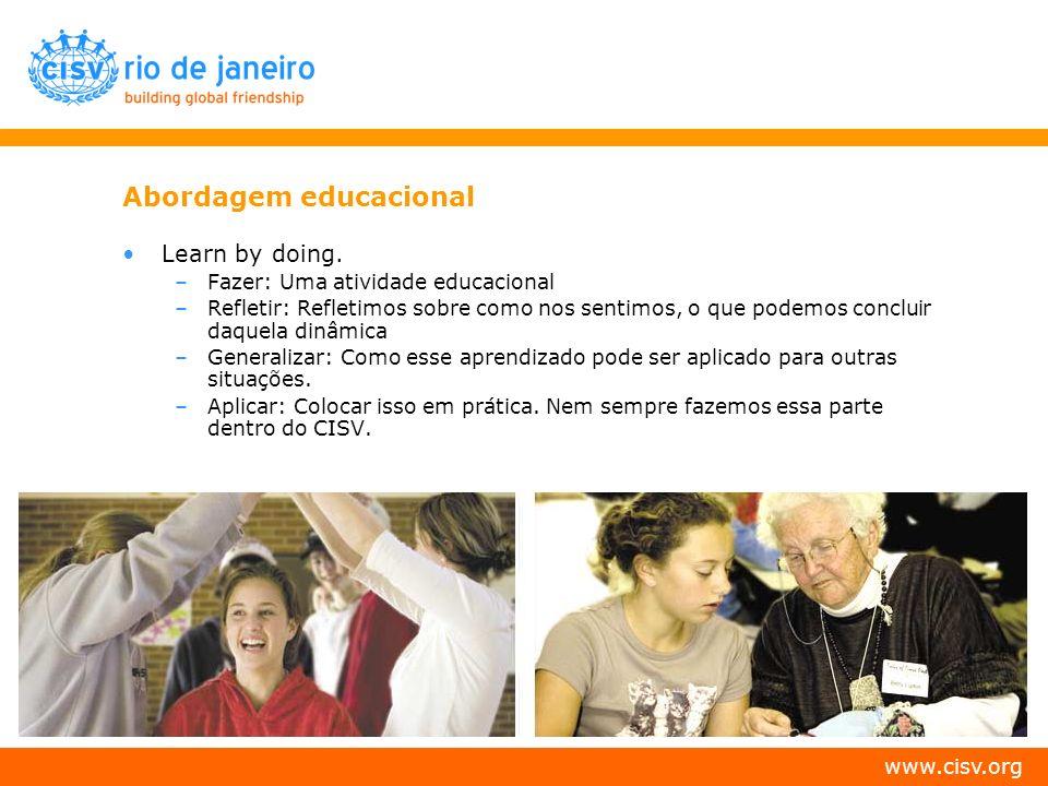 www.cisv.org Abordagem educacional Learn by doing. –Fazer: Uma atividade educacional –Refletir: Refletimos sobre como nos sentimos, o que podemos conc
