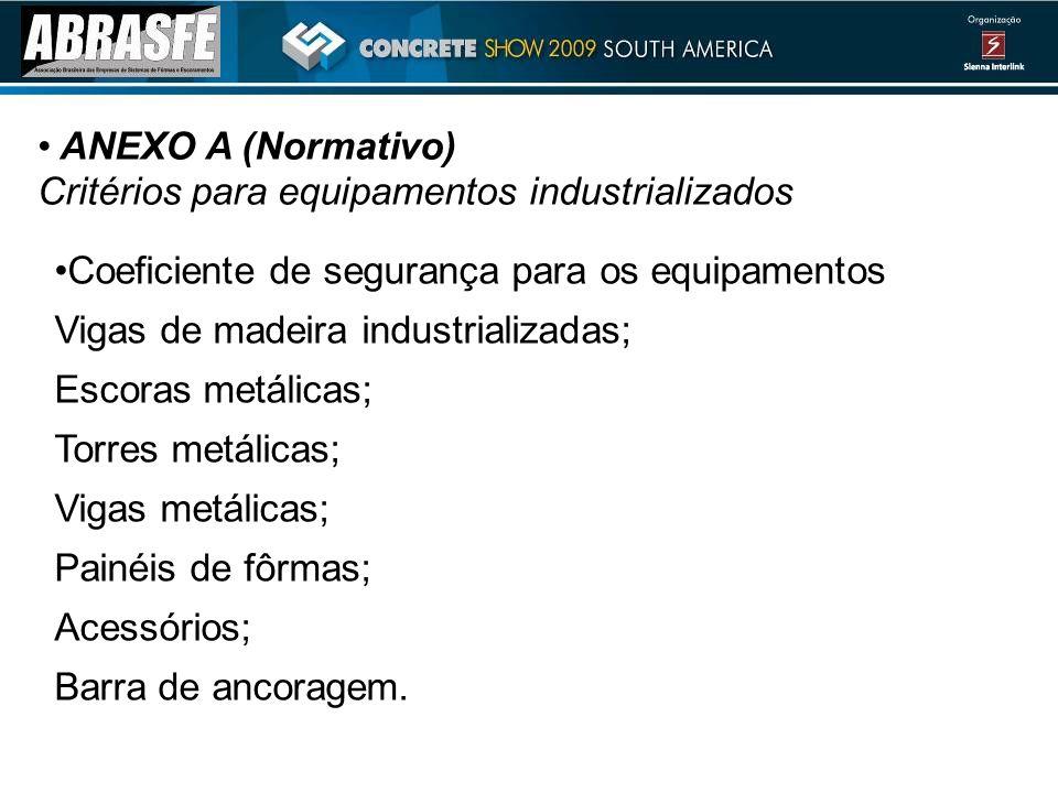ANEXO A (Normativo) Critérios para equipamentos industrializados Coeficiente de segurança para os equipamentos Vigas de madeira industrializadas; Esco
