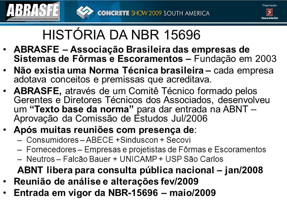 HISTÓRIA DA NBR 15696 ABRASFE – Associação Brasileira das empresas de Sistemas de Fôrmas e Escoramentos – Fundação em 2003 Não existia uma Norma Técnica brasileira – cada empresa adotava conceitos e premissas que acreditava.