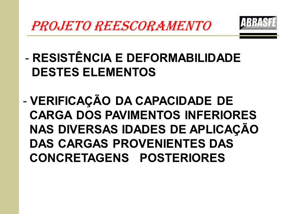 PROJETO REESCORAMENTO - VERIFICAÇÃO DA CAPACIDADE DE CARGA DOS PAVIMENTOS INFERIORES NAS DIVERSAS IDADES DE APLICAÇÃO DAS CARGAS PROVENIENTES DAS CONC