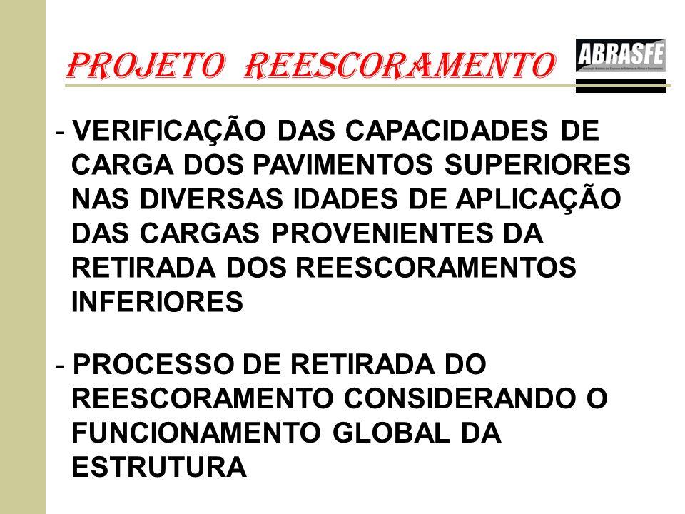 PROJETO REESCORAMENTO - PROCESSO DE RETIRADA DO REESCORAMENTO CONSIDERANDO O FUNCIONAMENTO GLOBAL DA ESTRUTURA - VERIFICAÇÃO DAS CAPACIDADES DE CARGA