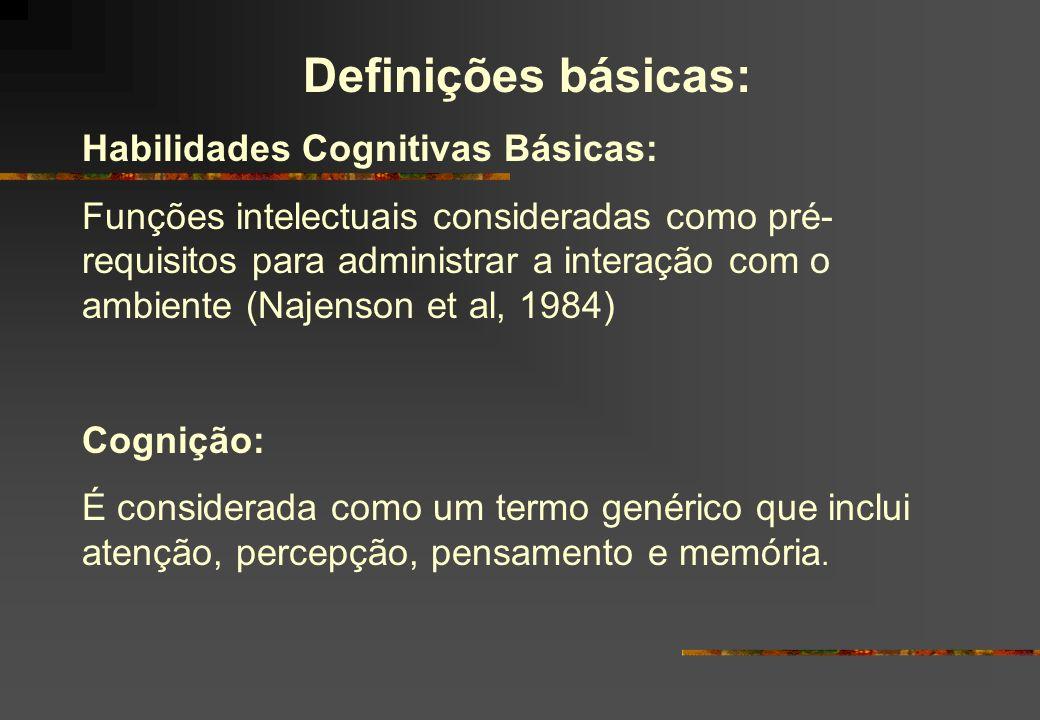 Definições básicas: Habilidades Cognitivas Básicas: Funções intelectuais consideradas como pré- requisitos para administrar a interação com o ambiente