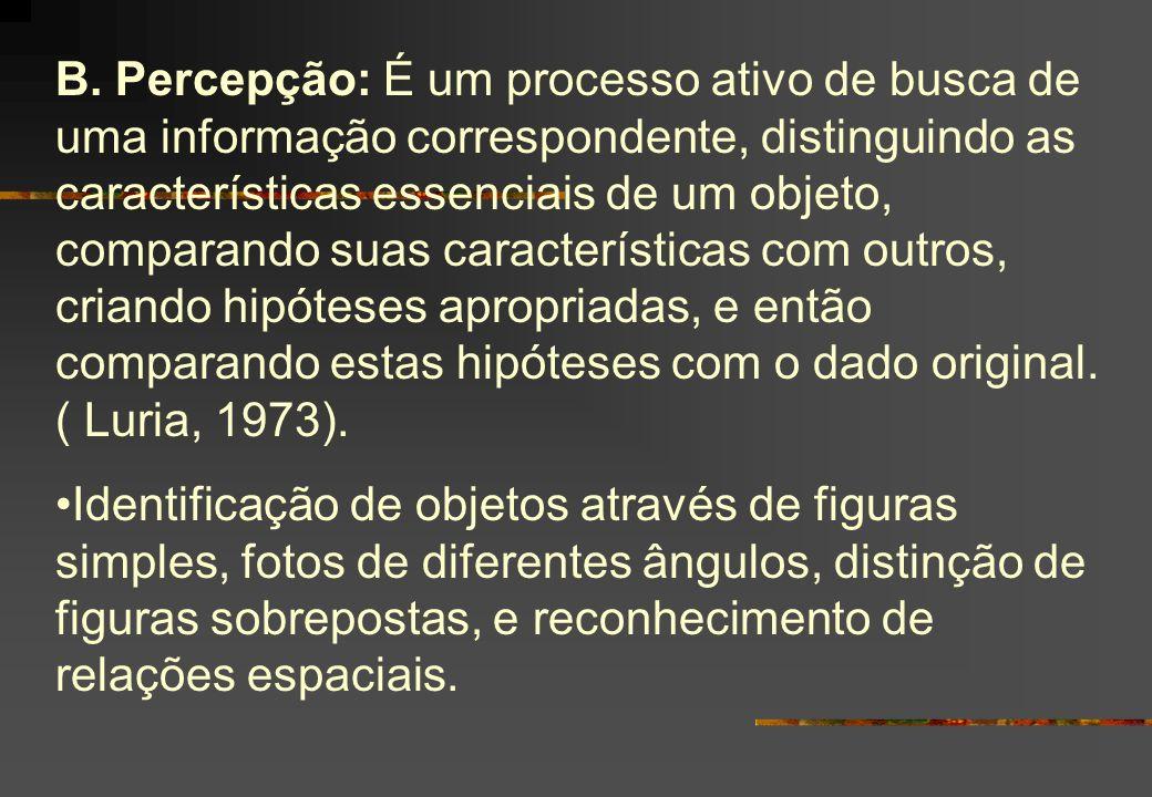 B. Percepção: É um processo ativo de busca de uma informação correspondente, distinguindo as características essenciais de um objeto, comparando suas
