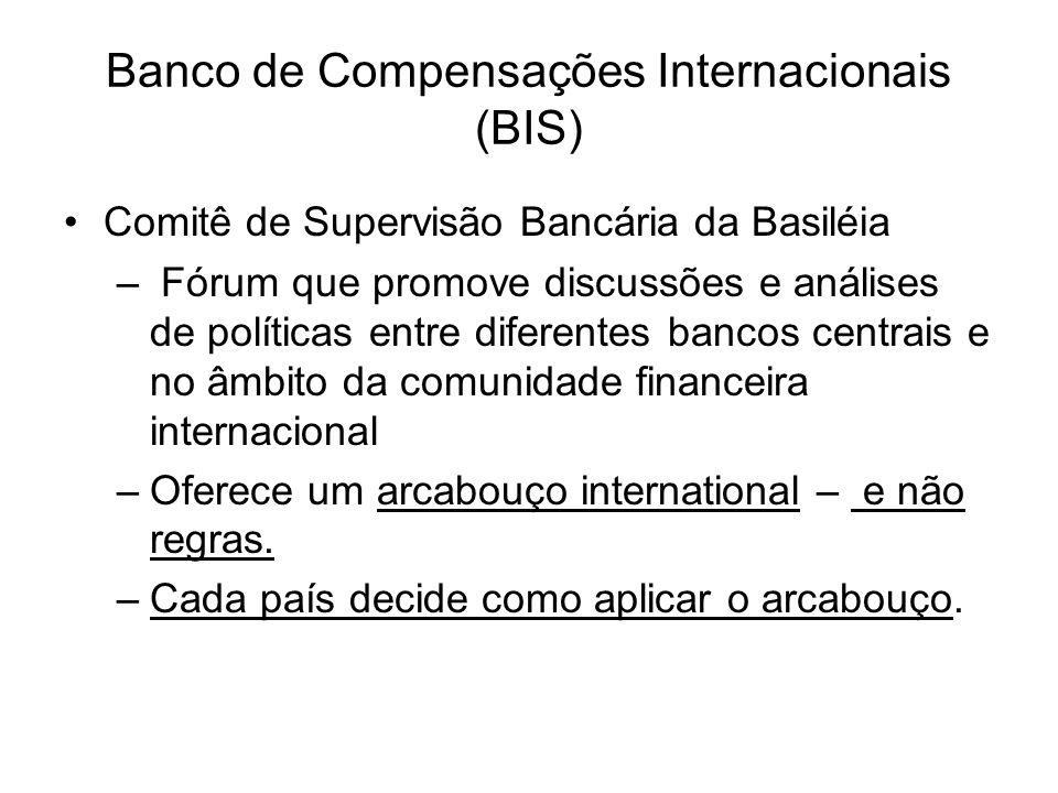 Banco de Compensações Internacionais (BIS) Comitê de Supervisão Bancária da Basiléia – Fórum que promove discussões e análises de políticas entre dife