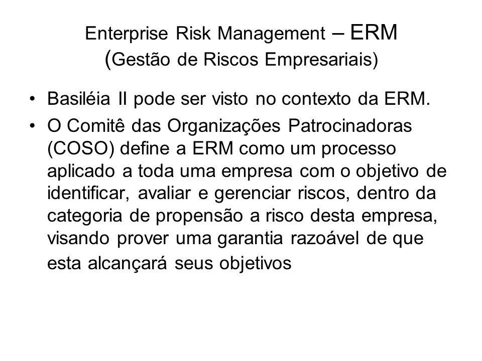 Enterprise Risk Management – ERM ( Gestão de Riscos Empresariais) Basiléia II pode ser visto no contexto da ERM. O Comitê das Organizações Patrocinado