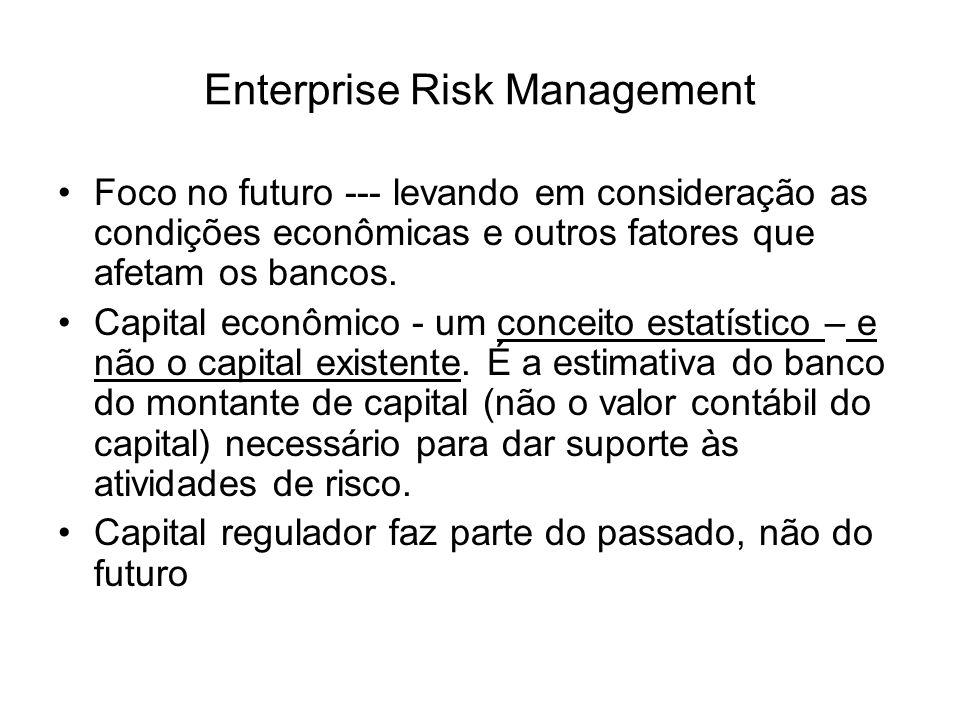 Enterprise Risk Management Foco no futuro --- levando em consideração as condições econômicas e outros fatores que afetam os bancos. Capital econômico
