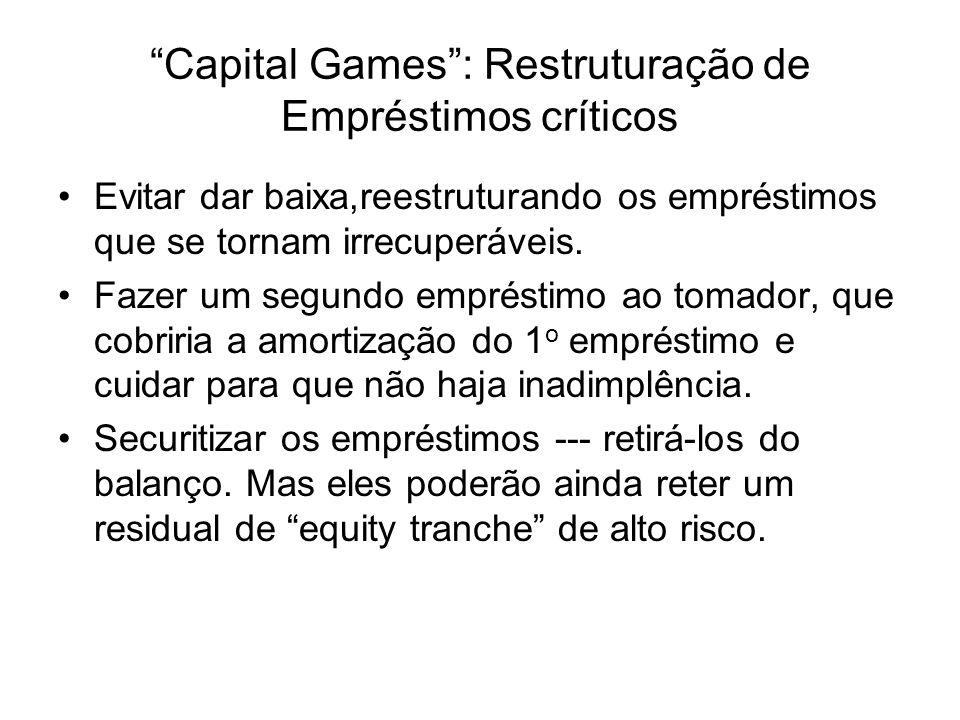 Capital Games: Restruturação de Empréstimos críticos Evitar dar baixa,reestruturando os empréstimos que se tornam irrecuperáveis. Fazer um segundo emp